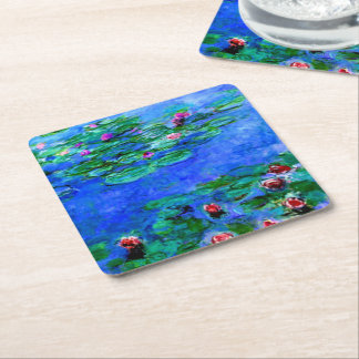 Monet - Water Lilies (red) Square Paper Coaster