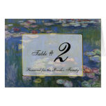 Monet Water Lilies Wedding Table Number