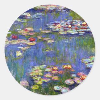 Monet Water Lily Pond Round Sticker