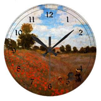 Monet - Wild Poppies Large Clock