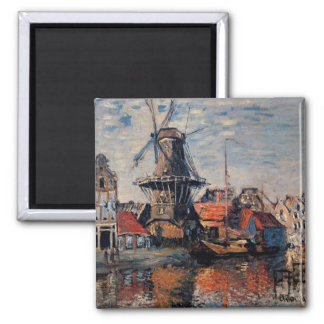 Monet - Windmill on the Onbekende Canall-Amsterdam Square Magnet