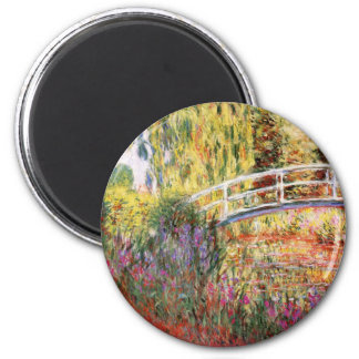 Monet's Bridge and Flowers 6 Cm Round Magnet