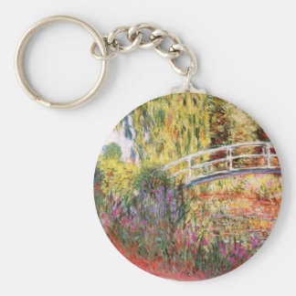 Monet's Bridge and Flowers Basic Round Button Key Ring