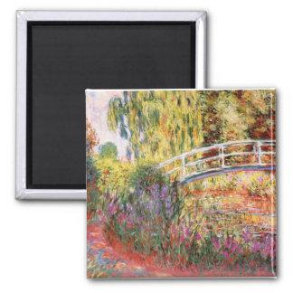 Monet's Bridge and Flowers Square Magnet