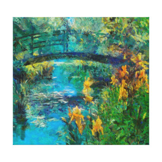 Monet's bridge with iris canvas print