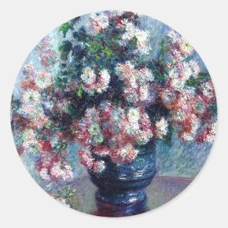 Monet's Chrysanthemums Fine Art Sticker