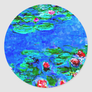 Monet's famous painting, Water Lilies (macro view) Round Sticker