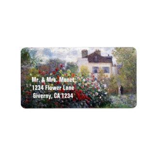 Monet's Garden Flowers Address Label