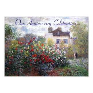 "Monet's Garden Flowers Anniversary Invitation 5"" X 7"" Invitation Card"