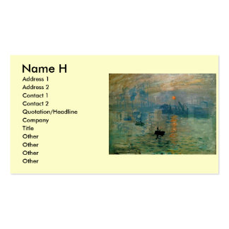 Monet's Impression Sunrise (soleil levant) - 1872 Pack Of Standard Business Cards