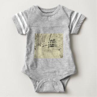 Monet's Japanese Bridge- Black and White Baby Bodysuit