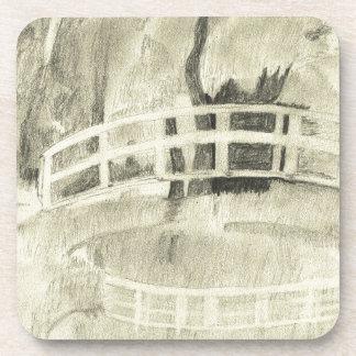 Monet's Japanese Bridge- Black and White Coaster