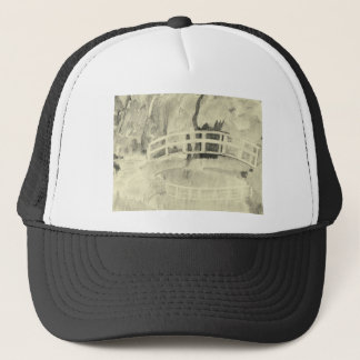 Monet's Japanese Bridge- Black and White Trucker Hat