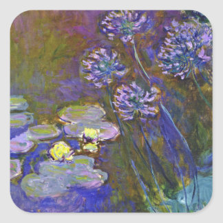 Monet's Water Lilies and Agapanthus Square Sticker