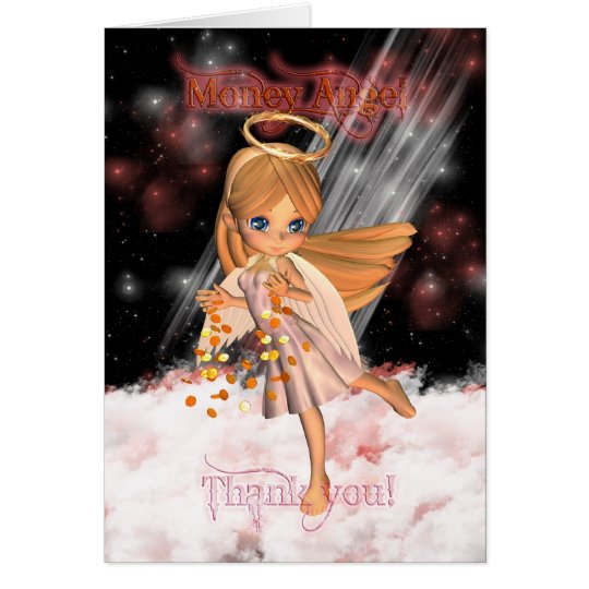 Money Angel Thank you Card with Cute Angel