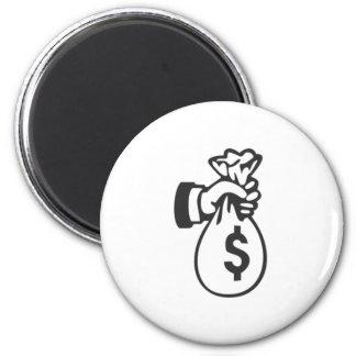 Money Bag 6 Cm Round Magnet