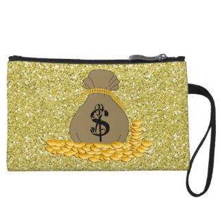 Money Bags Gold Faux Glitter Wristlet Purse