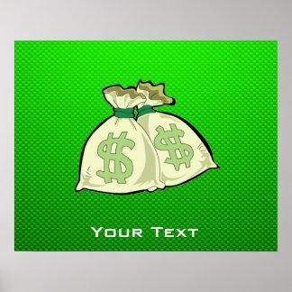 Money Bags; Green Print