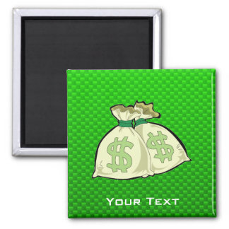 Money Bags; Green Square Magnet