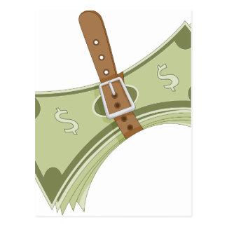 Money Budget Tightening Belt Metaphor Postcard
