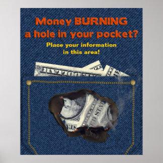 MONEY Burning Hole in Pocket Poster Poster