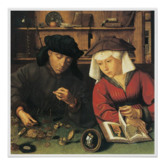 Money Changer and his Wife, 1514 Quentin Metsys Poster