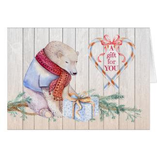 Money Enclosed Christmas Polar Bear with Gift card