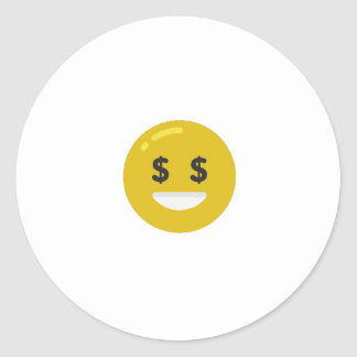 money eye emoji classic round sticker