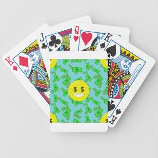 money eyed emoji bicycle playing cards