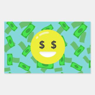 money eyed emoji rectangular sticker