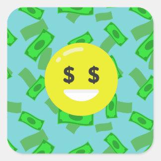 money eyed emoji square sticker