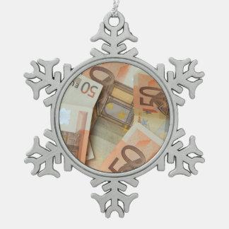 Money grows on trees! snowflake pewter christmas ornament