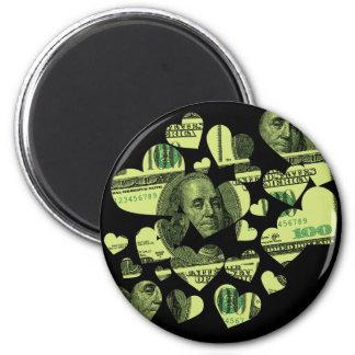 Money Hearts 6 Cm Round Magnet