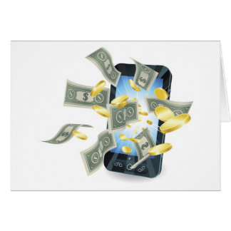 Money mobile phone concept greeting card