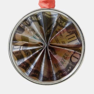 Money Origami Rosette Metal Ornament