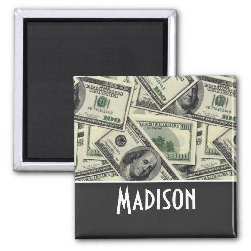 Money Pattern; Green Fridge Magnets
