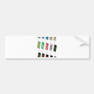 Money sign tags design bumper sticker