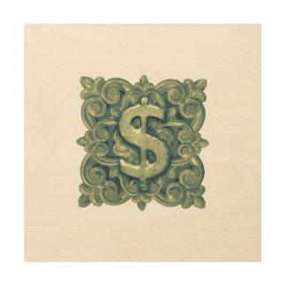 Money Symbol Ornament Wood Print