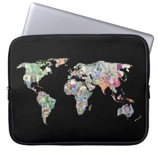 money world map finance country symbol business cu laptop sleeve