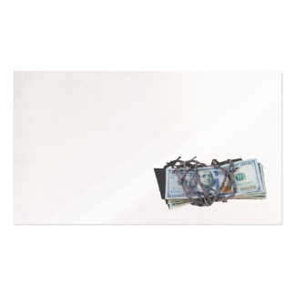 money wrapped in barbed wire business cards