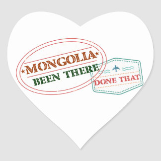 Mongolia Been There Done That Heart Sticker