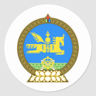 Mongolia coat of arms classic round sticker