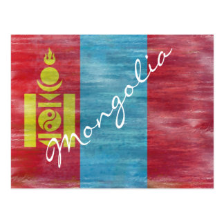 Mongolia distressed Mongolian flag Postcard