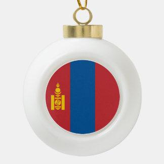 Mongolia Flag Ceramic Ball Christmas Ornament