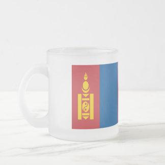 Mongolia Flag Frosted Glass Coffee Mug