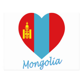 Mongolia Flag Heart Postcard