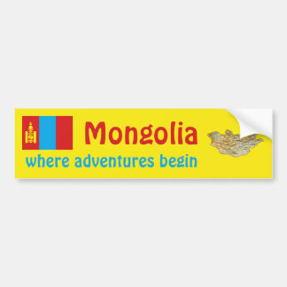 Mongolia Flag + Map Bumper Sticker