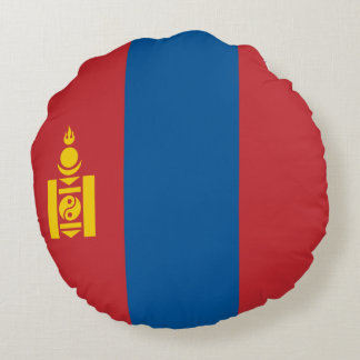 Mongolia Flag Round Cushion