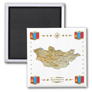 Mongolia Map + Flags Magnet