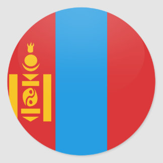 Mongolia quality Flag Circle Classic Round Sticker